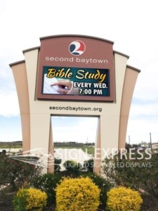 Second Baptist Church LED Sign of Baytown, TX Installation by Sign-Express
