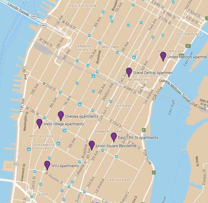 Townhouse Apartments Map