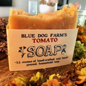 Wonderful tomato soap from BlueDog Farm in VA