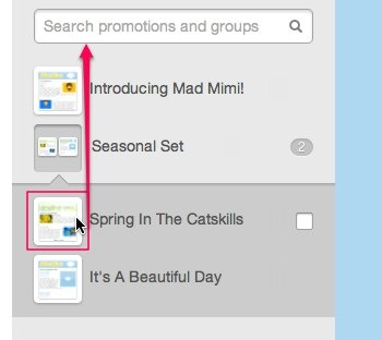 dragging a promotion out of a group to remove it from the folder