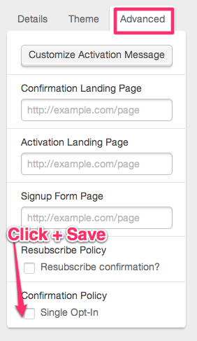 Advanced Webform Options, Single Opt-in