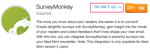 SurveyMonkey, set it up
