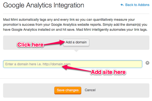Click Add Domain to link your domain Google Analytics to Mad Mimi