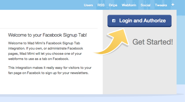 Facebook Signup Tab Authorize to get started