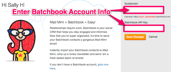 Step 2, Add Batchbook Account Credentials in Mimi and save