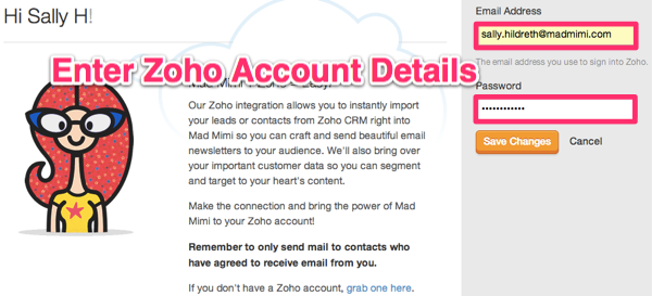 enter Zoho CRM details, here