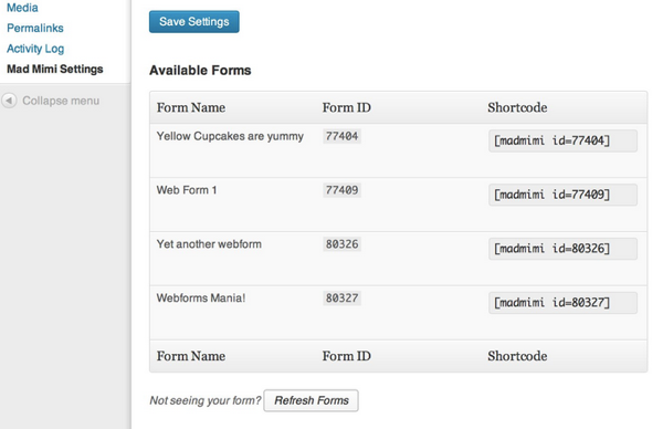 Wordpress email sign up form lists available