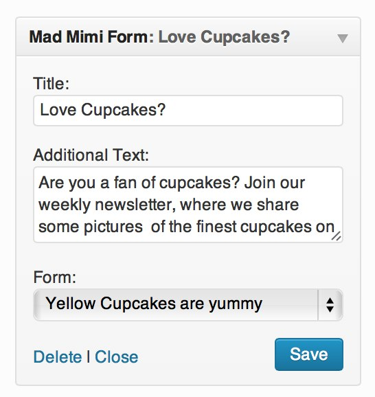 Wordpress email sign up form display settings