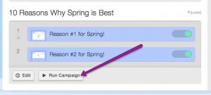 'run campaign' button underneath drip campaign thumbnail
