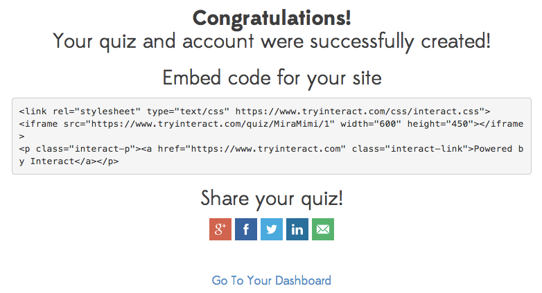 embed code and share options for Interact quiz