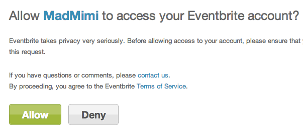 eventbrite allow access to mad mimi for integration