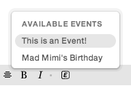multiple events from EventBrite to display and select when composing Mad Mimi email