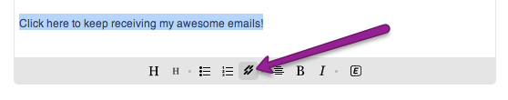 highlight link text and click link button under text module to create a link in Mad Mimi emails