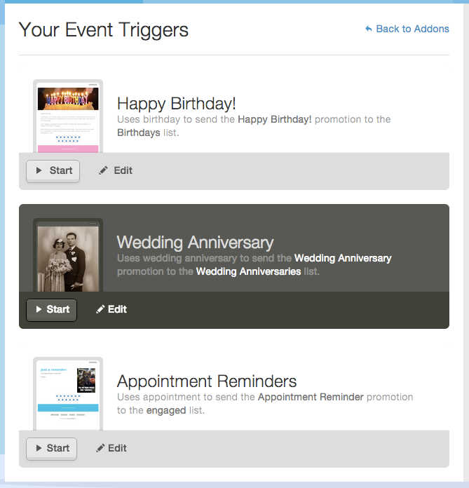 use Mad Mimi Date Triggers for all different date-related email sends