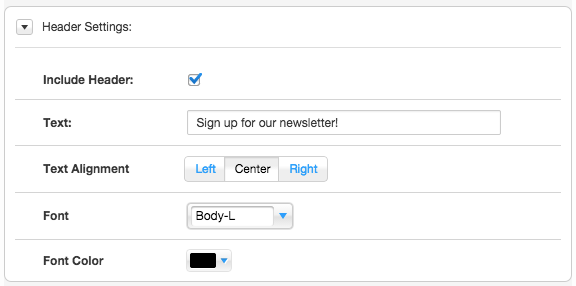 Choose to include a header on your Mad Mimi form, customize the text, alignment, font, and color in Wix.