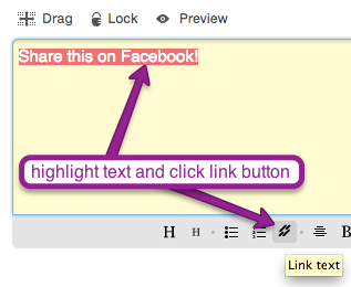 highlight text in Mad Mimi promotion text module and click link button underneath, to add Facebook Share Link URL