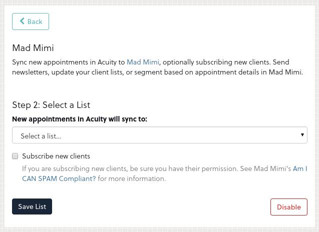 Acuity - Mad Mimi Integration 3