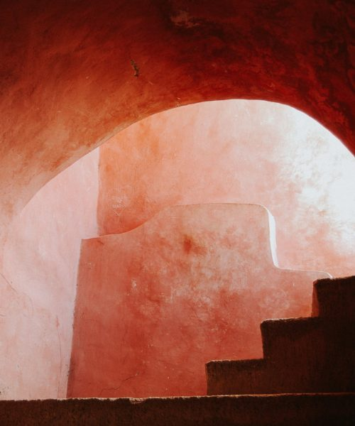 Valladolid Mexico Pink stairs