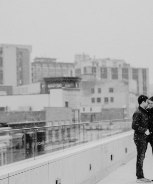 Overture Center Snowy Engagement Photo