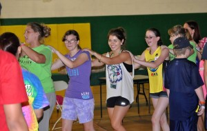Photo of a camper conga line