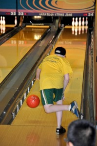 Picture of camper bowling.