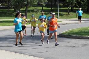 Photo of campers running.