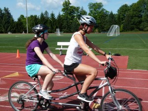 Picture of tandem bicycling.