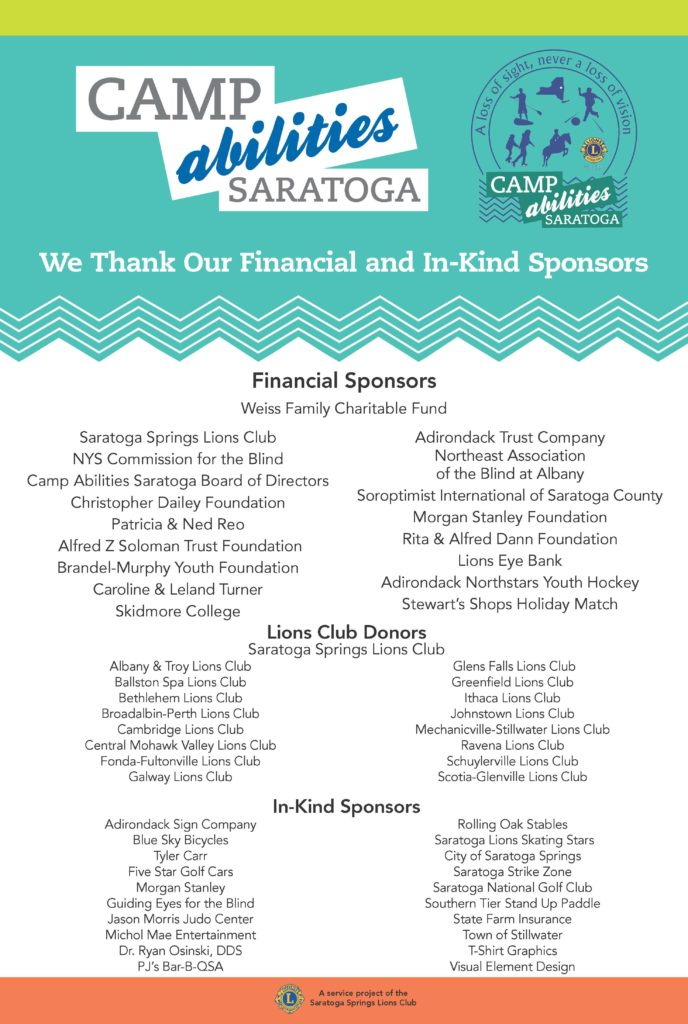 List of supporters of 2017 Camp Abilities Saratoga