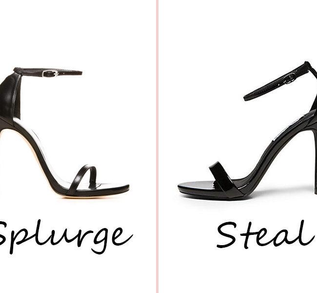 splurge vs steal strappy sandals