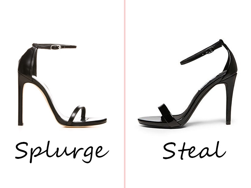 splurge vs steal strappy sandals