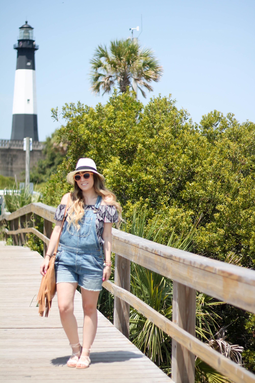 Kohl's Blouse, American Eagle Overalls, Kohl's Fringe Bag, Old Navy lace up sandals Physician Endorsed Belize hat (3 of 10)