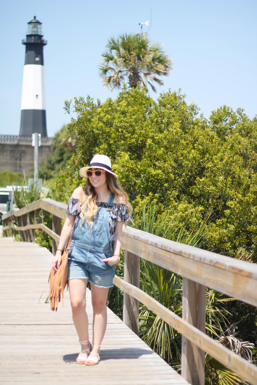 Kohl's Blouse, American Eagle Overalls, Kohl's Fringe Bag, Old Navy lace up sandals Physician Endorsed Belize hat (4 of 10)