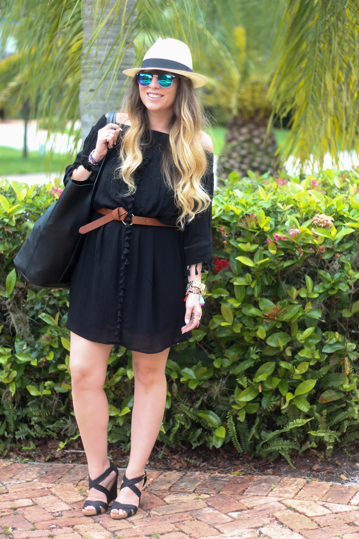 Black Target Tassel Dress, JCrew Panama Hat, Nordstrom Vegan Leather Tote, Sole Society Wedges, Fantaseyes Sunglasses (1 of 6)