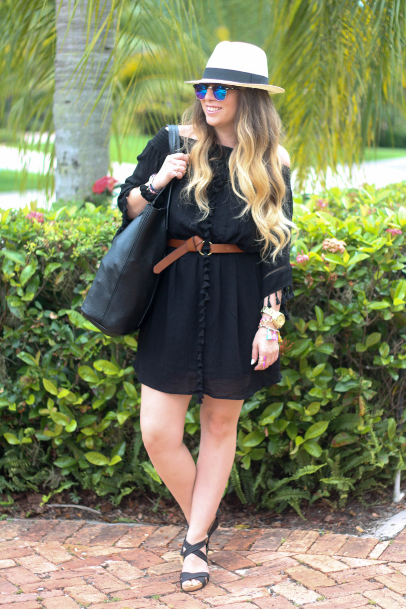 Black Target Tassel Dress, JCrew Panama Hat, Nordstrom Vegan Leather Tote, Sole Society Wedges, Fantaseyes Sunglasses (2 of 6)