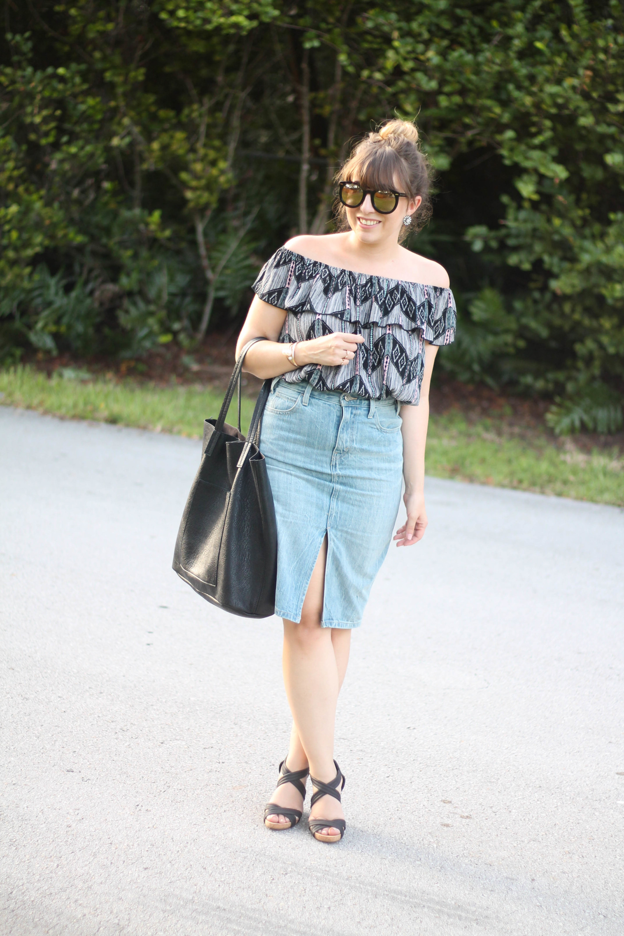 Levi's denim pencil skirt, Kohl's off the shoulder top, karen walker sunglasses from ditto, sole society wedges (1 of 11)