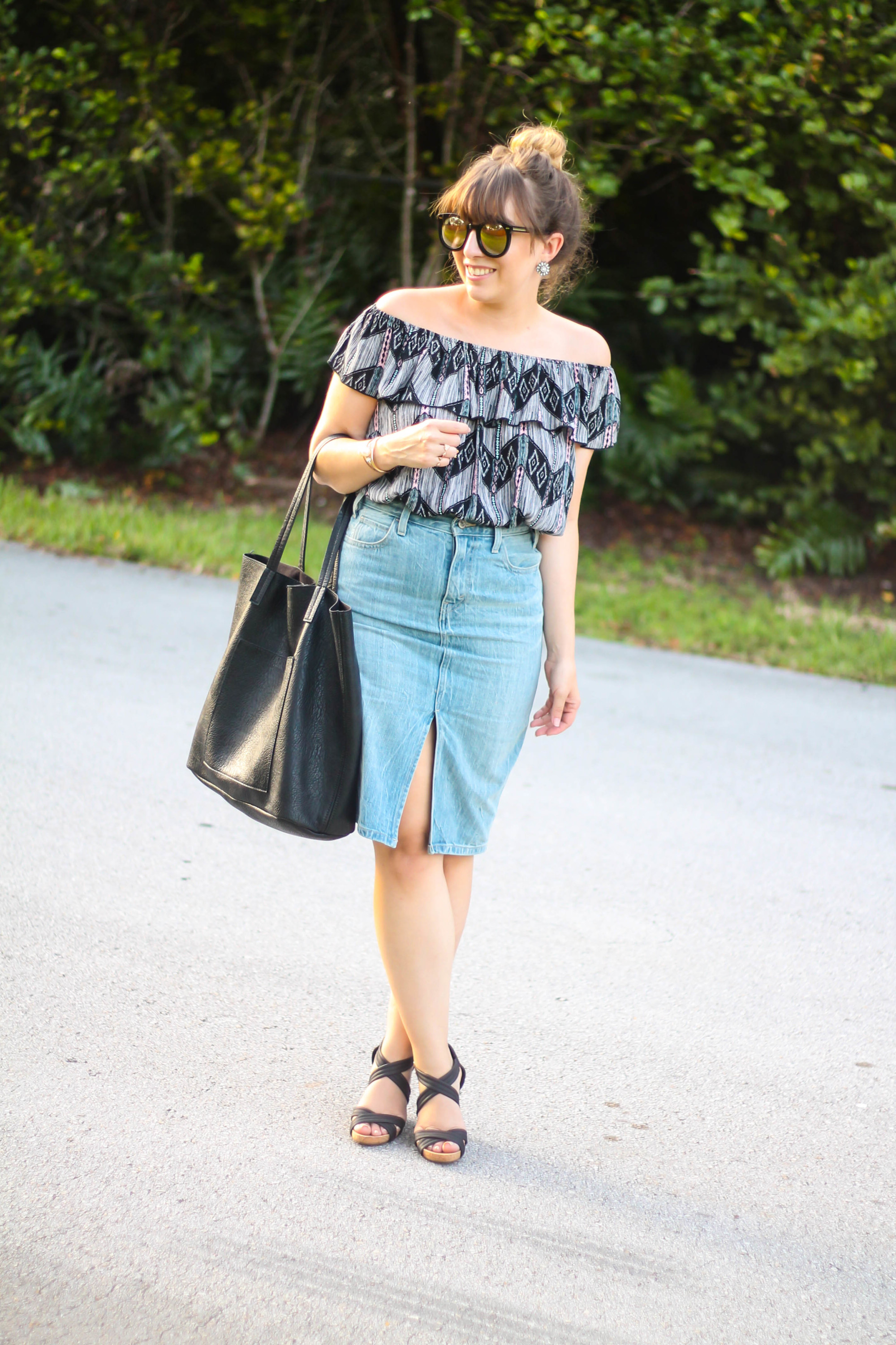 Levi's denim pencil skirt, Kohl's off the shoulder top, karen walker sunglasses from ditto, sole society wedges (2 of 11)