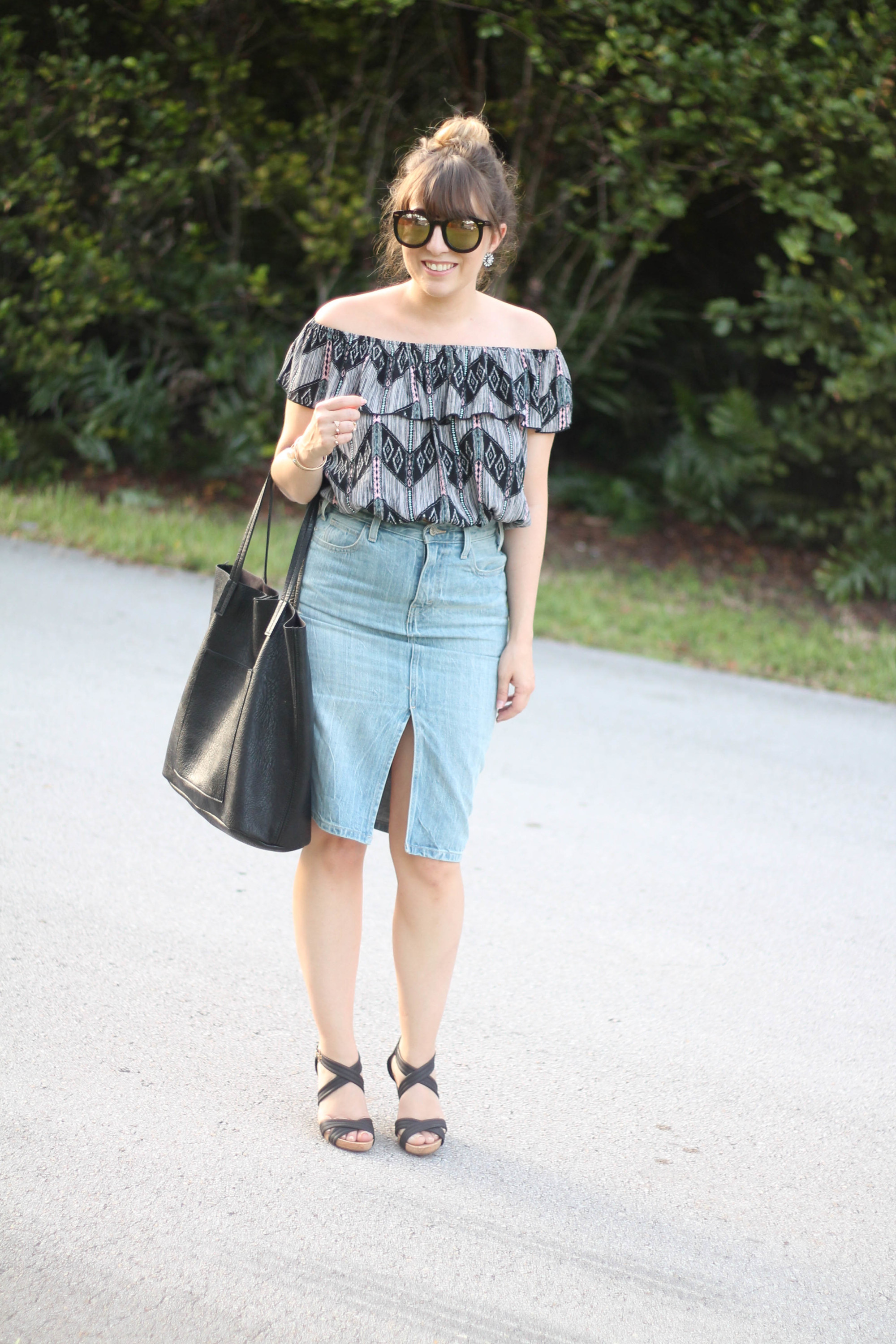 Levi's denim pencil skirt, Kohl's off the shoulder top, karen walker sunglasses from ditto, sole society wedges (4 of 11)