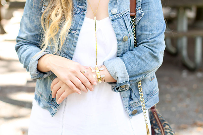 Transition a little white dress for fall with a few easy tweaks.