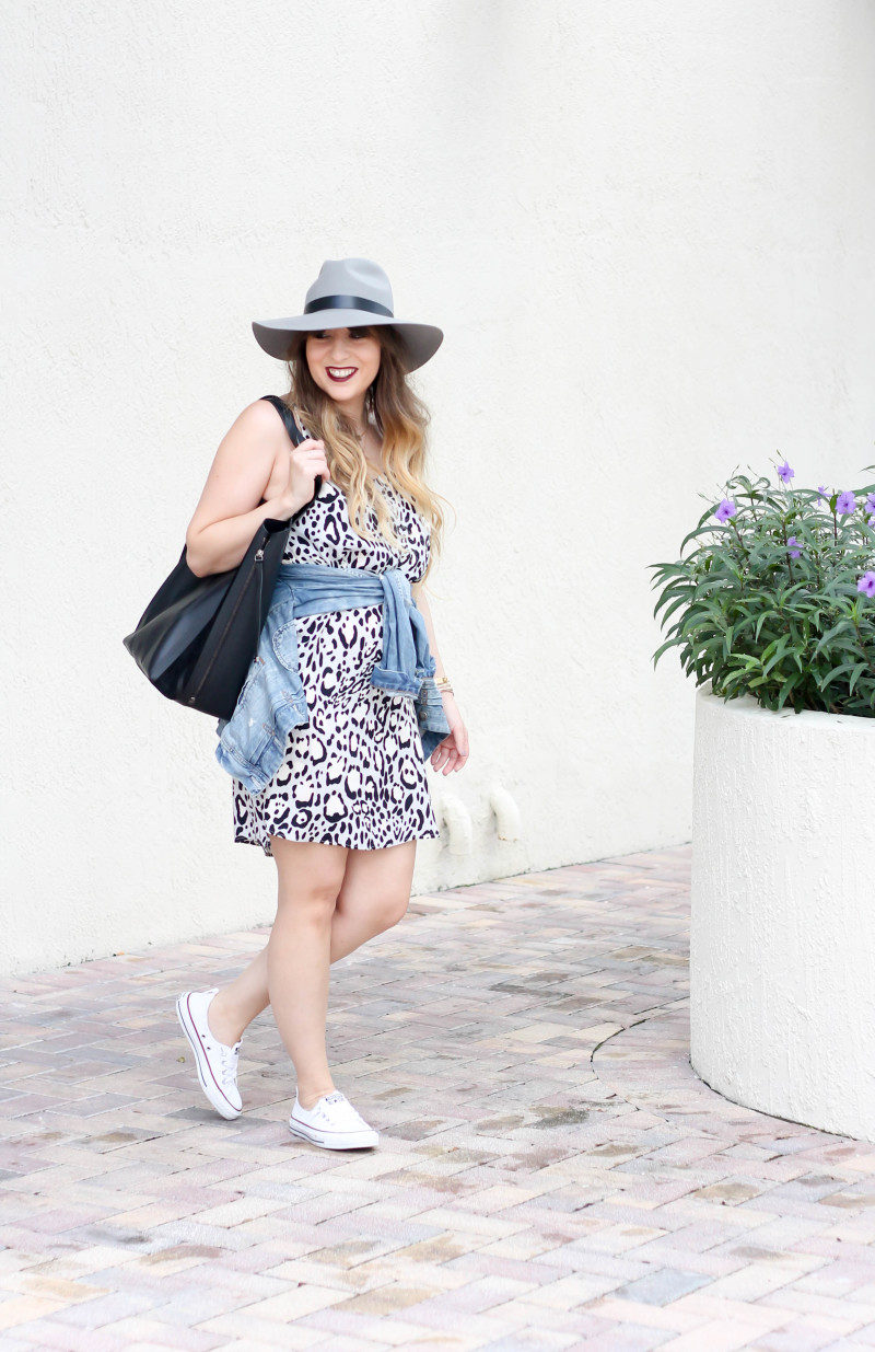 Topshop leopard shift dress, Converse white Shoreline sneaker, JCrew jean jacket, Topshopo felt fedora (1 of 13)