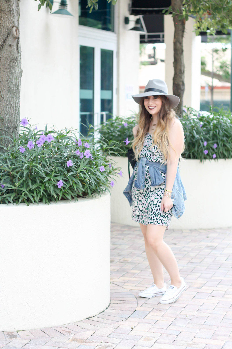 Topshop leopard shift dress, Converse white Shoreline sneaker, JCrew jean jacket, Topshopo felt fedora (2 of 13)