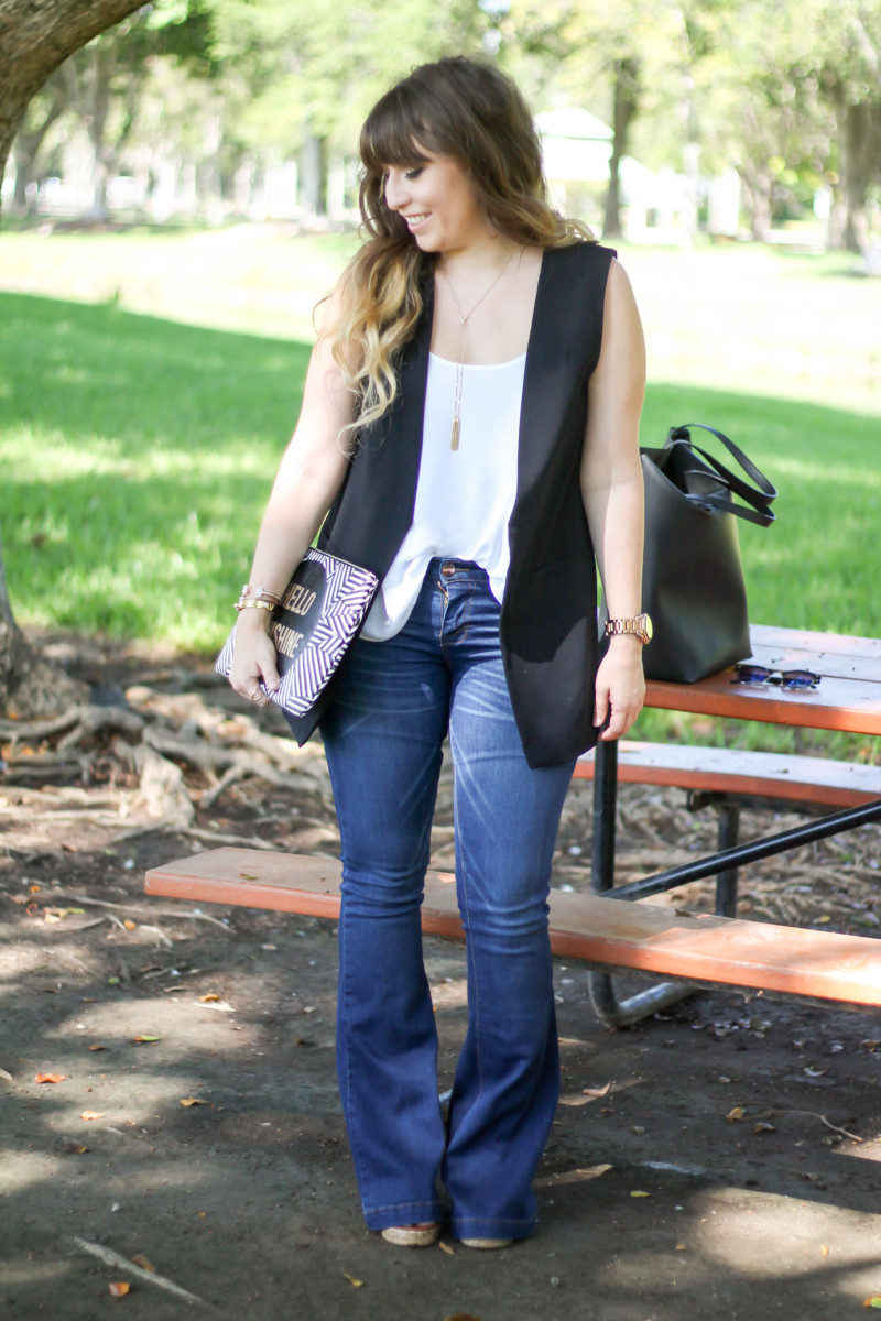 kohl's sleeveless blazer, flare jeans, camisole (12 of 13)