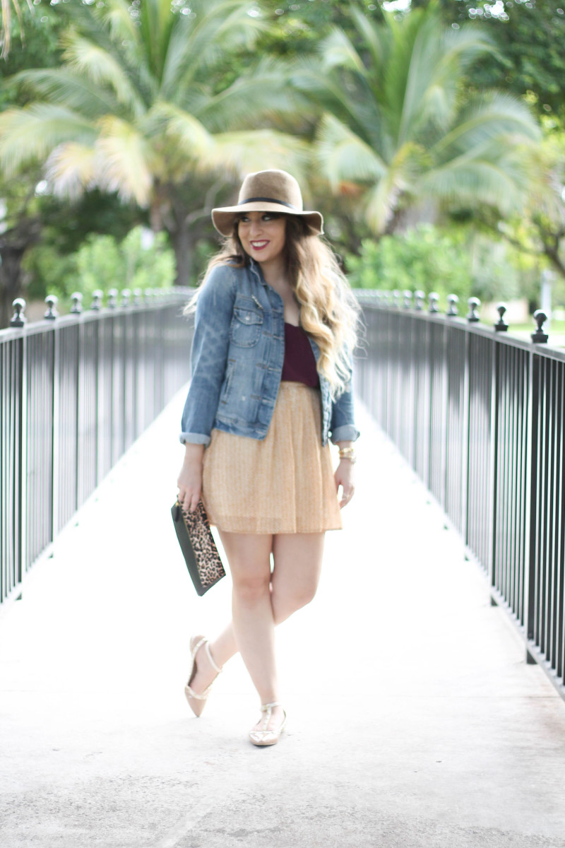 Gold Old Navy Skirt and Nordstrom Maroon Scallop Tank (4 of 13)
