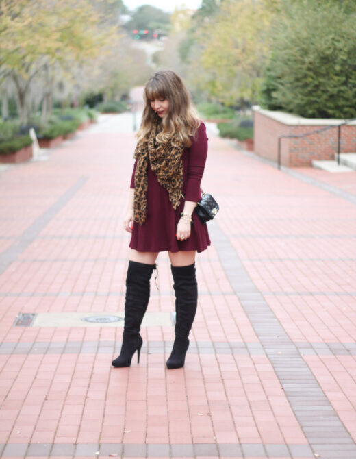 Lush maroon swing dress and black over the knee boots