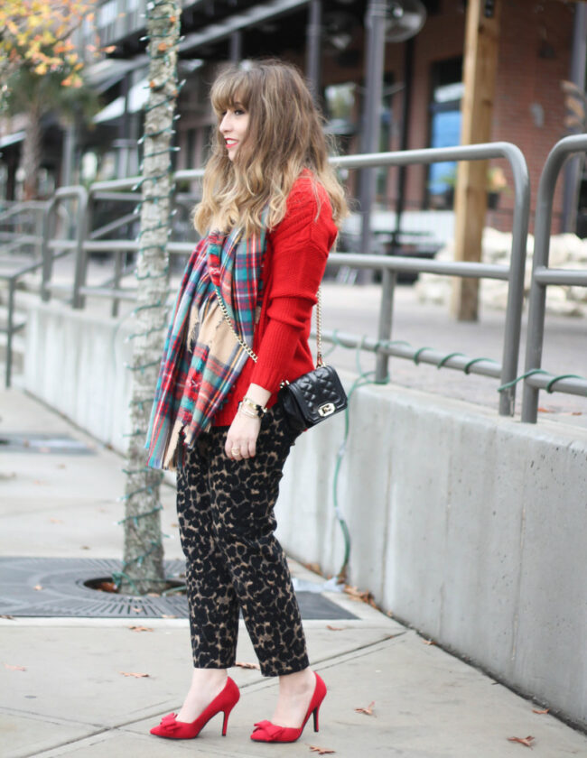Old Navy leopard Harper pant and plaid blanket scarf