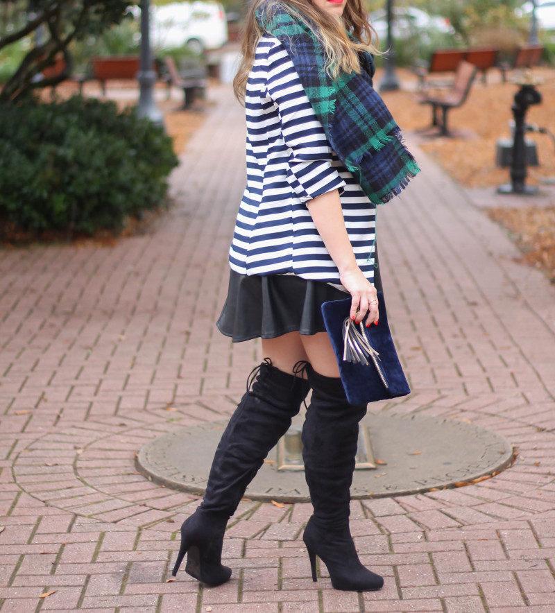Stripe blazer and watch plaid scarf-10
