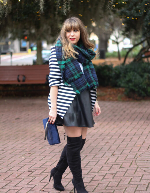 Stripe blazer and watch plaid scarf-11