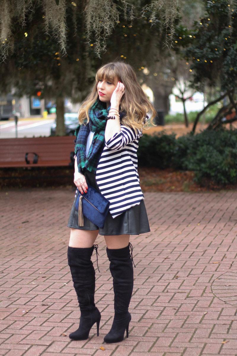 Stripe blazer and watch plaid scarf-2