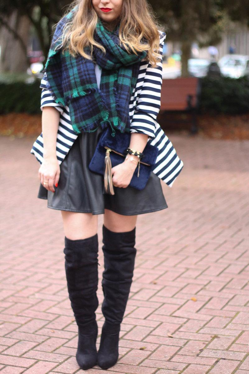 Stripe blazer and watch plaid scarf-5