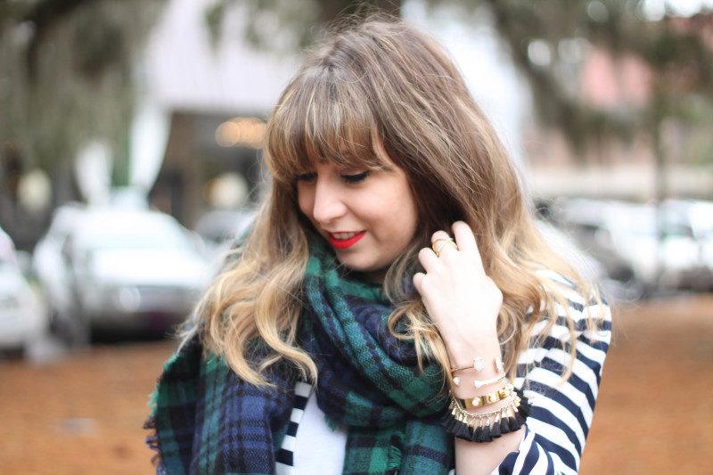 Stripe blazer and watch plaid scarf-7