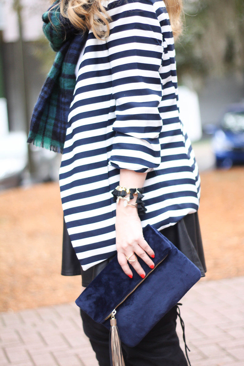 Stripe blazer and watch plaid scarf-9